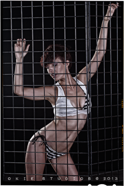 Black background with cage